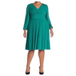 NEW Eliza J V-Neck Long Sleeve Fit & Flare Dress